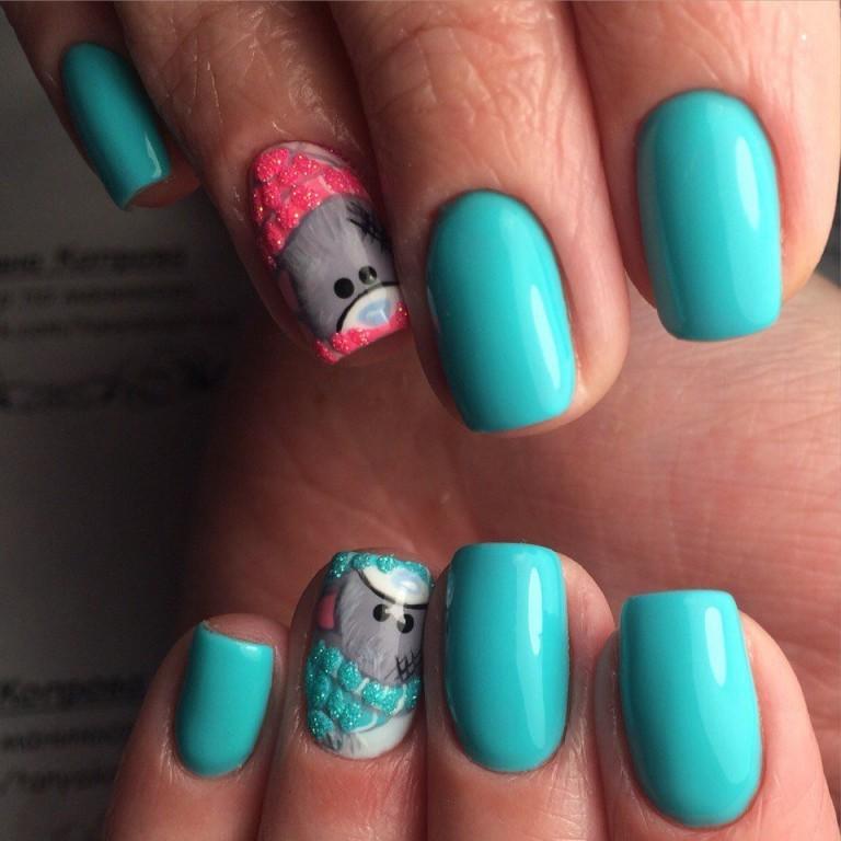 Бирюзовый маникюр гель лаком на короткие ногти фото дизайн