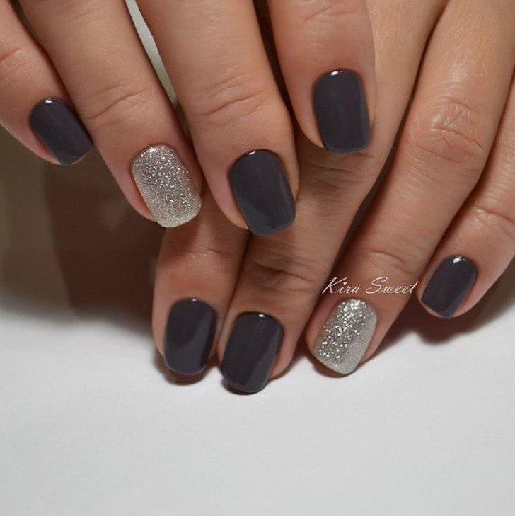 Темный гель-лак на коротких ногтях фото