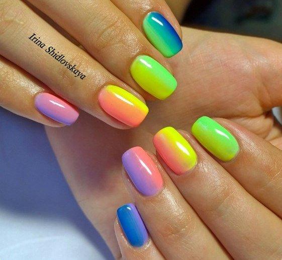Радужный маникюр ногти фото