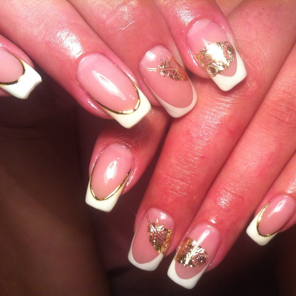 Френч на ногтях с золотом фото 2018 новинки