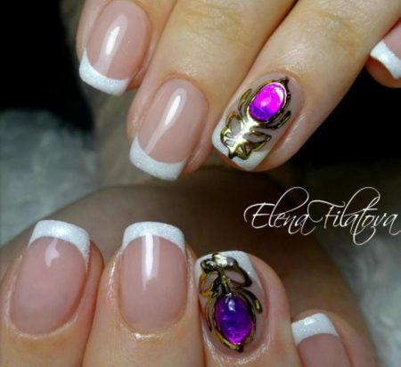 Френч на короткие квадратные ногти с дизайном