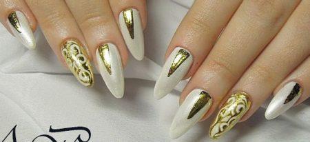 Модный свадебный маникюр с золотом