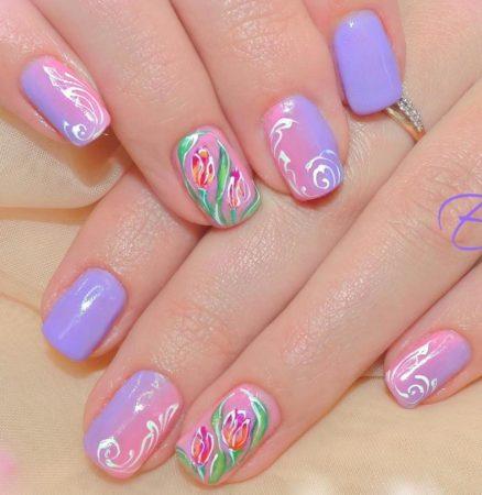Дизайн коротких ногтей весна - лето
