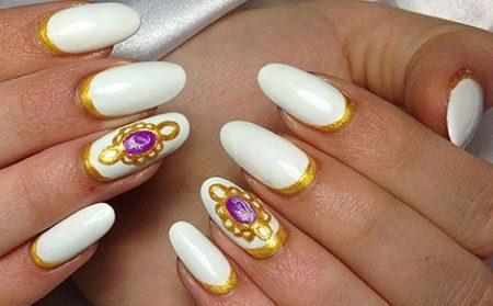Модный маникюр фото белый с золотом