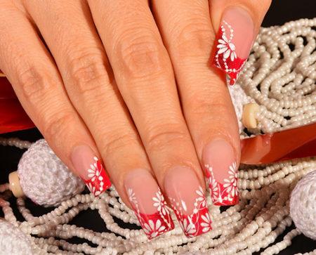 Френч-фото симпатичного дизайна ногтей