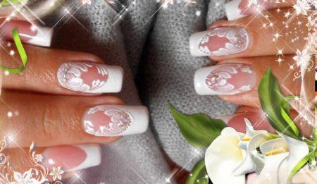 Френч на квадратные ногти с белым рисунком
