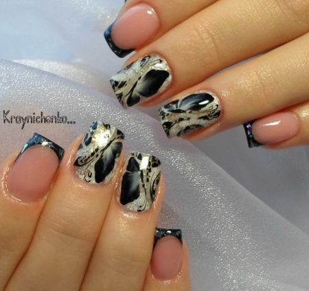 Черный френч с объемным дизайном бабочки