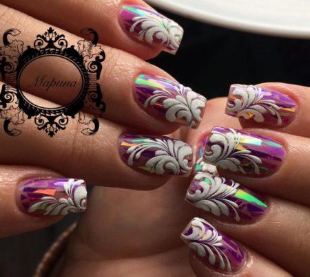 Модный дизайн ногтей фото зеркального маникюра