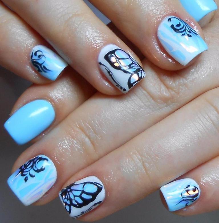 Дизайн ногтей гель лак голубой фото