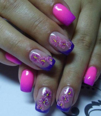 Цветной френч с техникой омбре в сиренево - розовом цвете