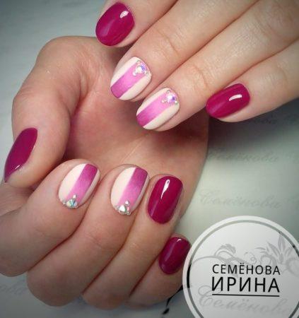 Идеи двухцветного маникюра на короткие ногти с дизайном
