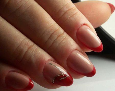 Цветной френч на короткие ногти с дизайном