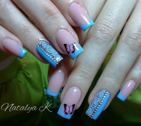 Модный френч на квадратные ногти с узорами
