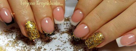 Красивый френч на короткие ногти с золотом идея вечернего маникюра