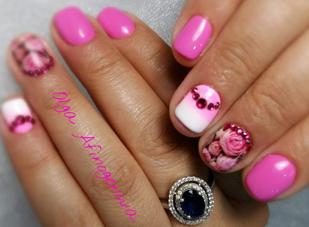 Цветы на коротких ногтях фото гель лаком