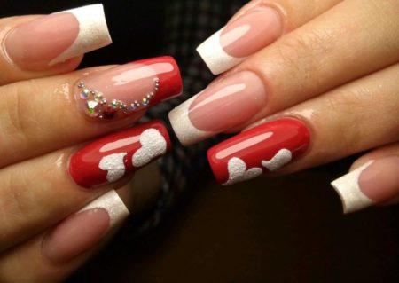 Модный красно-белый френч фото