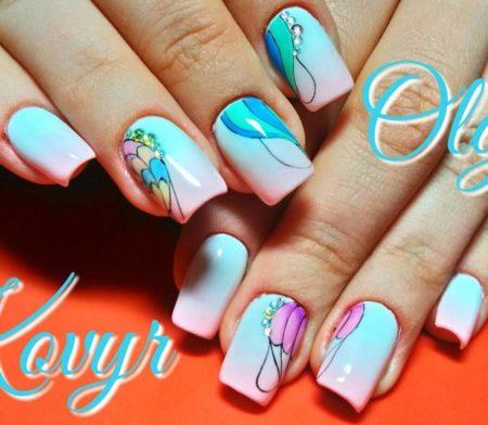 Летний маникюр весна - лето на квадратные ногти с дизайном
