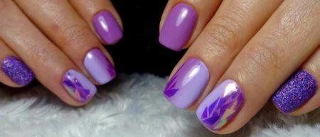 Популярный модный дизайн ногтей в сиреневом цвете