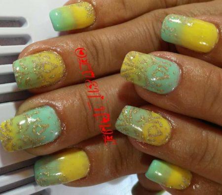 Маникюр на короткие ногти с дизайном весна - лето
