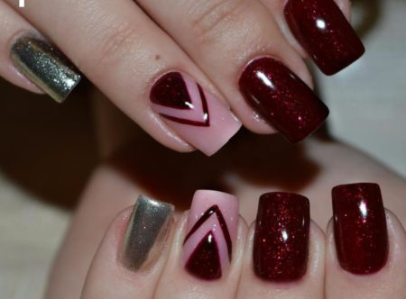 Модный маникюр идея геометрического дизайна ногтей