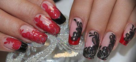 Красно - черный френч художественная роспись ногтей