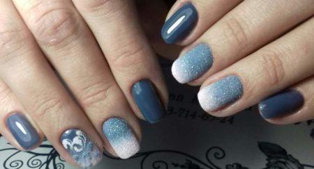 Модный градиентный маникюр с идеей дизайна бархатного песка на короткие ногти.