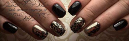 Черный маникюр на квадратные короткие ногти