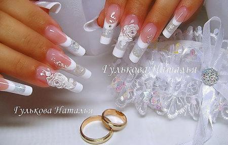 Фото ногтей свадебного маникюра – фото идеи модного дизайна.