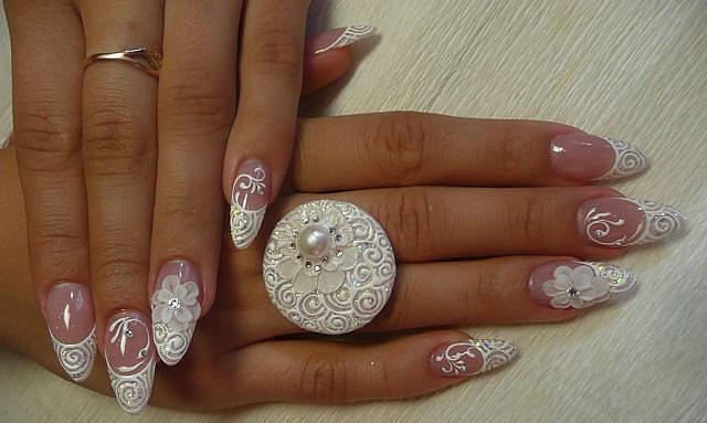 Фото свадебного дизайна ногтей акрилом