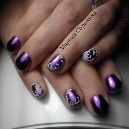 Дизайн ногтей с втиркой фото темно сиреневый