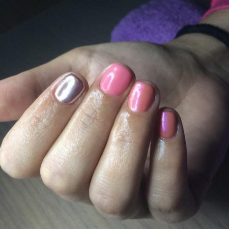 Дизайн ногтей с втиркой фото розовый
