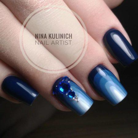 синий обратный френч фото