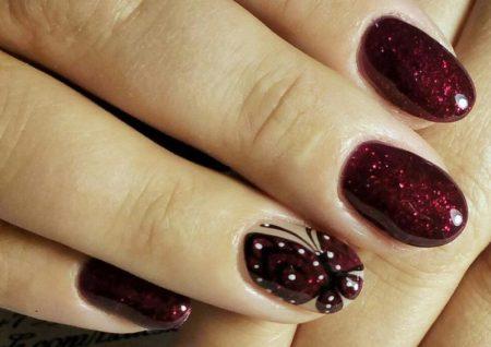 дизайн ногтей с бабочками фото