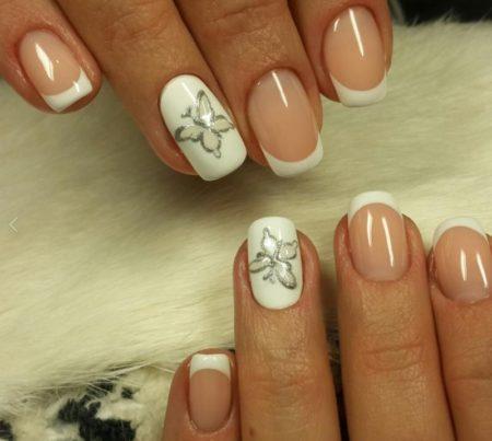 красивый дизайн ногтей с бабочками