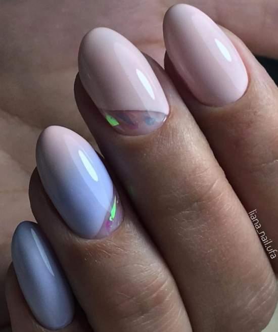 """""""Битое стекло"""" на прозрачном участке ногтя"""