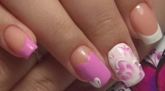 Женственный бело-розовый френч с сердечками