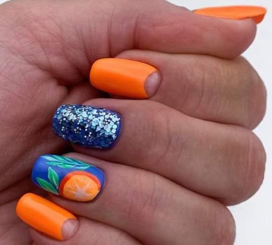 Идеальный дуэт сочного оранжевого и синего оттенков