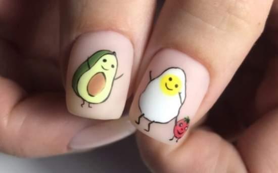 Забавные рисунки на ногтях