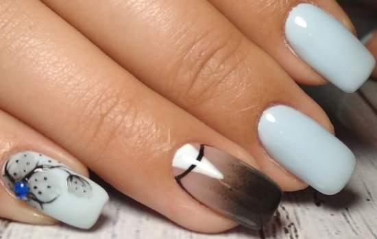 градиент на ногтях от прозрачного к черному цвету