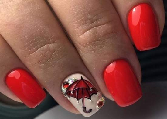 зонт на ногтях
