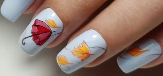 зонт и листья на ногтях