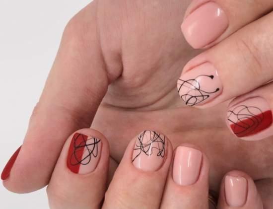 """Дизайн ногтей с хаотичным нанесением """"Паутинки"""""""