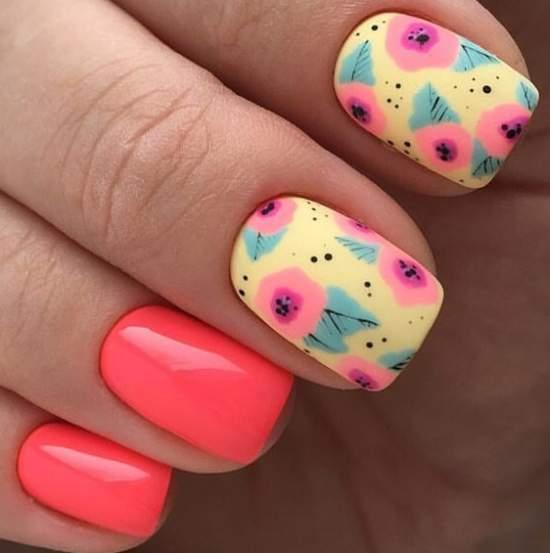 весенний дизайн ногтей в ярких цветах