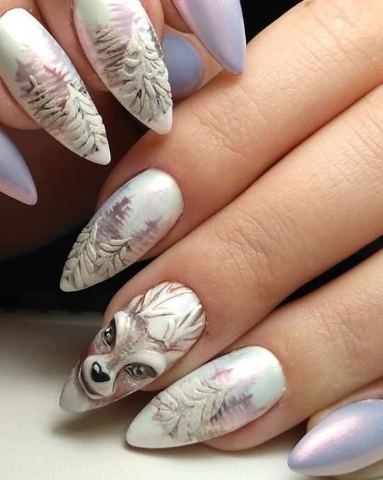 красивый зимний пейзаж с оленем на ногтях
