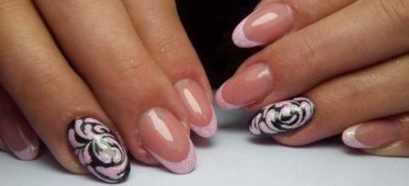 Френч на короткие ногти с красивым дизайном