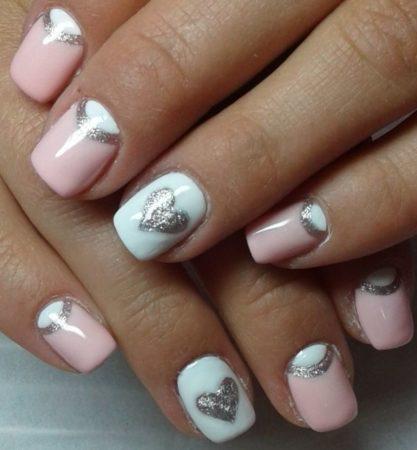 Маникюр гель - лак на короткие ногти с дизайном