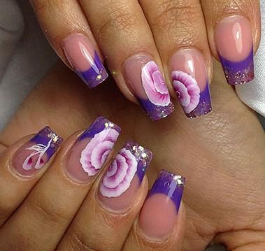 Маникюр весна - лето с цветами на квадратных ногтях