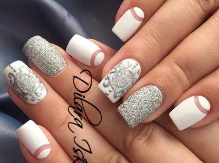 Модный маникюр белый лунный с серебряным литьем