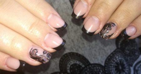 Дизайн черных ногтей, маникюр под черное платье