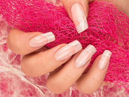 френч-фото свадебного дизайна ногтей
